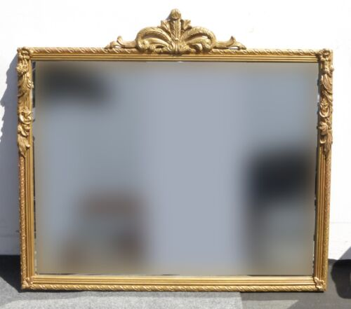 Vintage French Provincial Style Wood Frame Gold Gilt Floral Design Wall Mirror