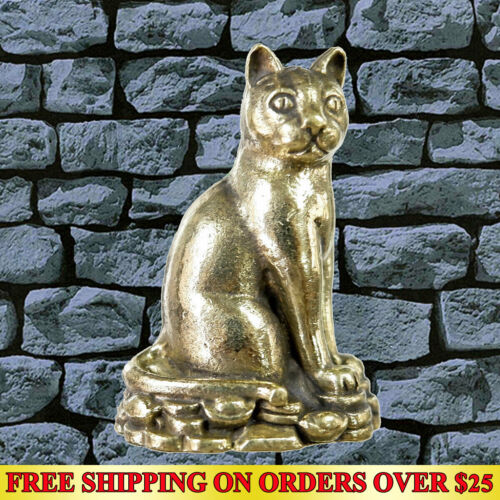 Brass Cat Hunting Money Amulet Statue Magic Talismans Wealth Lucky Casino Gamble