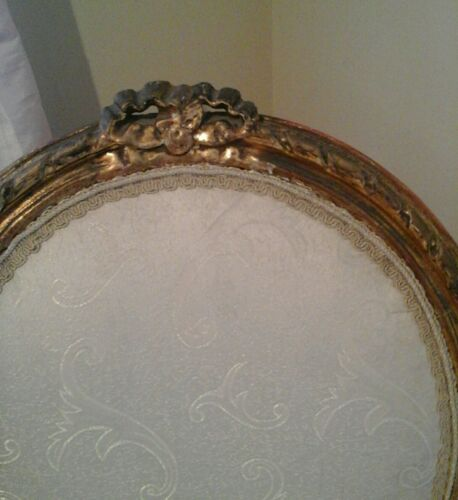 Paris MEDALLION side parlor GILT ribbons SILK BROCADE> TWO CHAIRS FOR $320 !