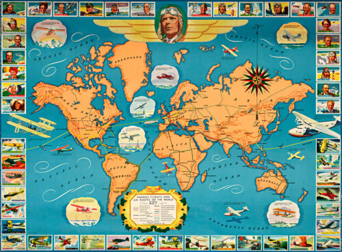 Famous Flights and Air Routes of the World 1937 A1 Art Print