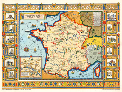 A Picture Map of France 1929 75cm x 56.3cm High Quality Art Print