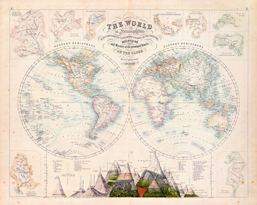 The World in Hemispheres with Mountain Heights Map A1 Art Print