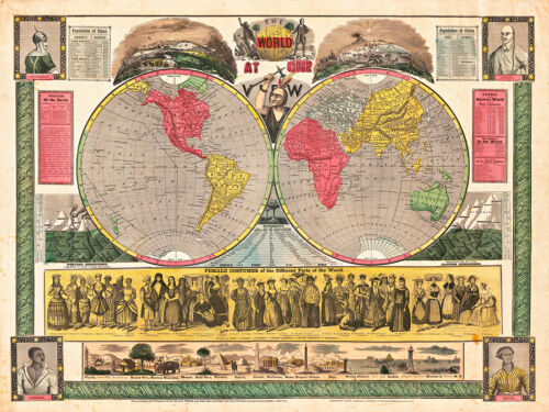 The World at One View 1852 Map A1 Art Print