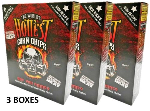 3 BOXES of The World's Hottest Corn Chips! SUPER XXX HOT Chilli Seed Bank /sauce