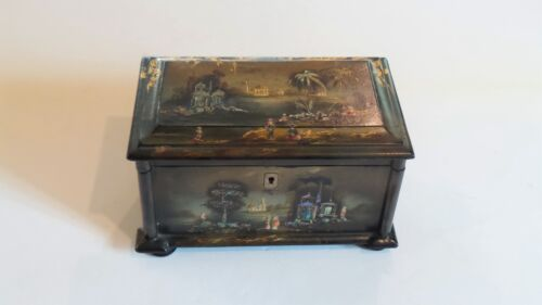 Early 19th C. Lacquer Chinese Export Tea Caddy, Mother-of-Pearl