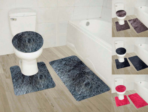 3PC #9 FAUX SHAGGY SOFT BATHROOM SET BATH MAT CONTOUR RUG TOILET LID COVER NEW <br/> IN ASSORTED RICH SOLID COLORS ANY STYLE HOME DECOR
