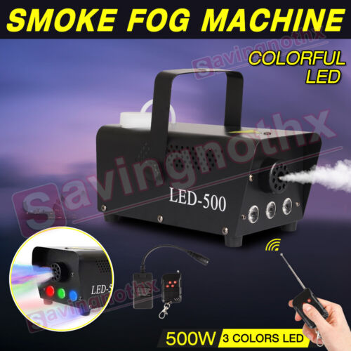 Smoke Machine RGB LED Party Club Disco DJ Effect Wireless Control-500W Fogger <br/> 1200+sold⭐Weddings/Gatherings/Parties⭐3 LED Light Color