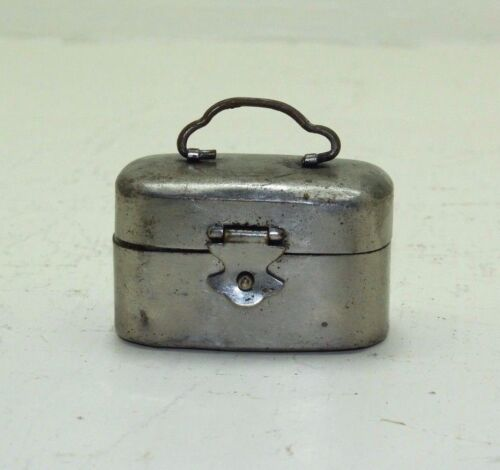 Rare Vintage Beautiful Handmade Small Brass Pocket Inkwell Box for Two Inkpots