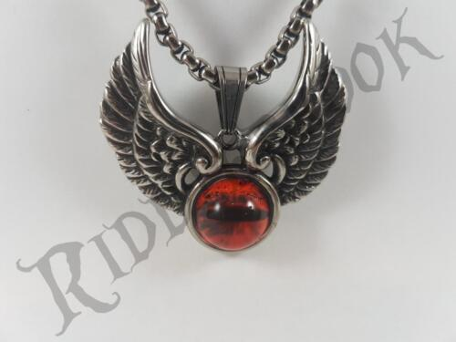 Stainless Steel Red eye winged pendant and necklace 60cm chain evil goth biker