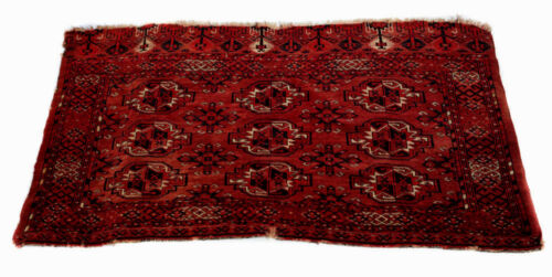 Hand Knotted TURKOMAN Wool Rug, c1900; geometric patterns in red