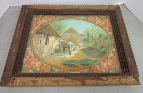 Tramp Art Wood Frame Layered  Framed Picture Farm Unique Antique