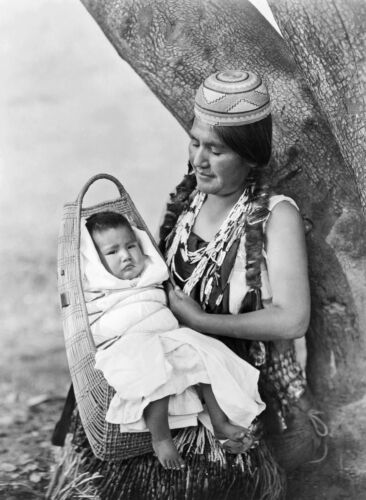 New Art Print of c.1923 Edward Curtis Photo Hupa Mother With Child CA. 11X17
