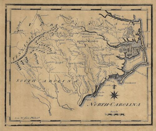 "Map - ""NORTH CAROLINA, SOUTH CAROLINA & VIRGINIA"" - Reproduction"