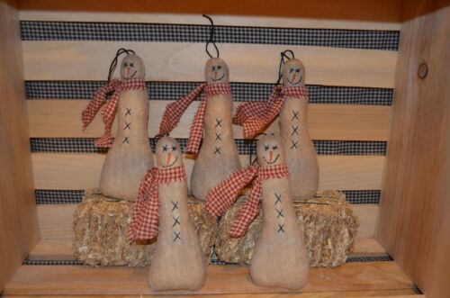 5  SNOWMAN Ornies Christmas Tree Primitive Country Hanging Ornaments Lot Prim