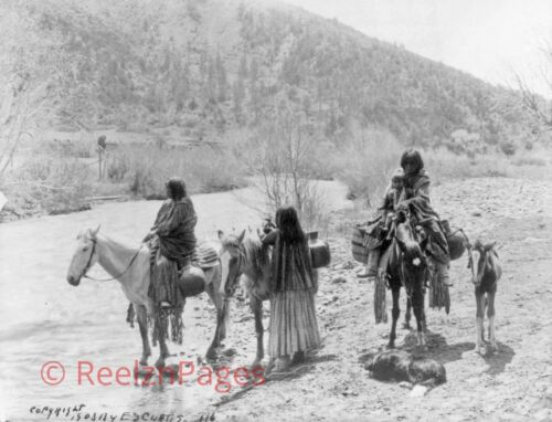New Art Print 1903 Edward Curtis Photo At The Ford, Apache New Mexico 11X17