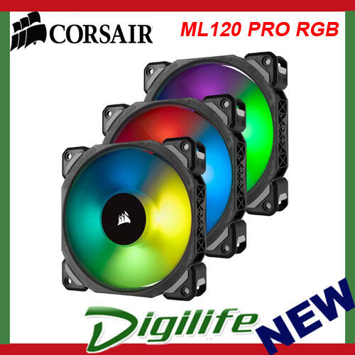 Corsair ML120 PRO RGB LED 120mm Magnetic Levitation Fan  3 Pack with Controller