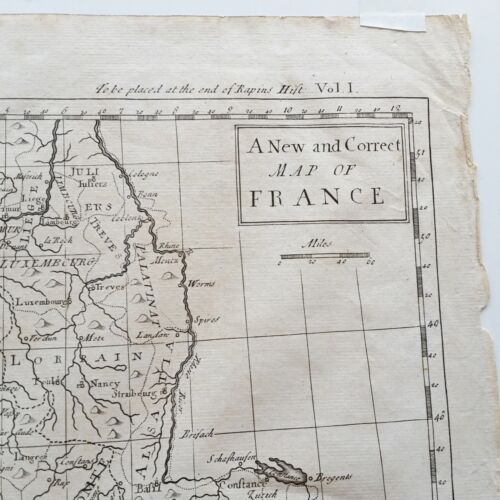 A NEW AND CORRECT MAP OF FRANCE, 1745 Rapin's History of England N.TINDAL Nice