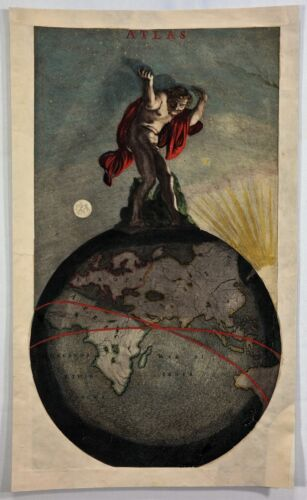 "Original Hand Colored Copper Engraved Title Page - ""ATLAS""  by De Wit in c1670"