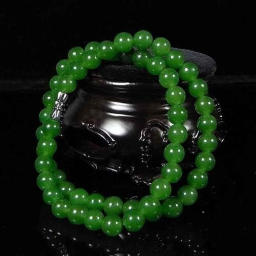 8mm Beautiful Chinese Handcraft 100% Natural Jade Green Jade beads Necklaces