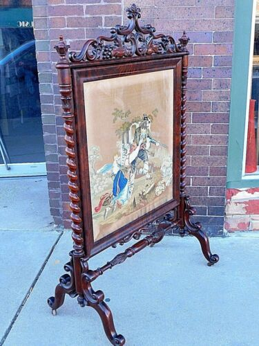 Victorian Antique Ornate wood carved Needlepoint Fireplace Screen Museum Quality