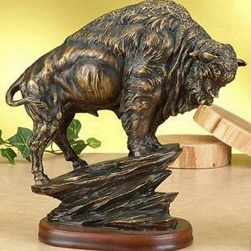 Bronze Sculpture Statue Bison Antiqued Large American Modern Abstract Buffalo
