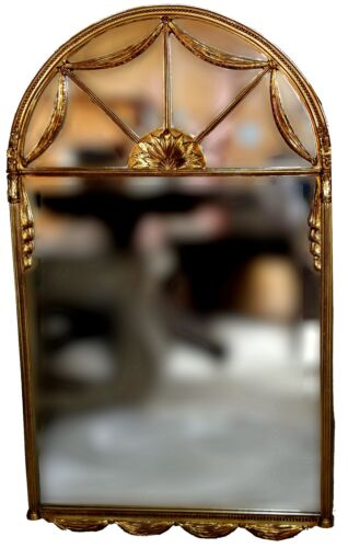 Vintage Gilt Louis XVI Swagged Wall Statement Mirror