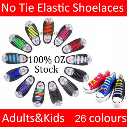 Easy Lazy No Tie Elastic Silicone Shoe Laces Cool Shoelaces Unisex Adults & Kids