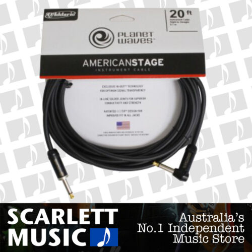 Planet Waves PW-AMSGRA-20 American Stage Guitar Cable Lead 20ft Right Angle