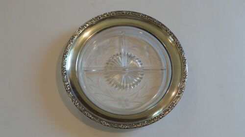 """Engraved Divided Glass 8"""" Dish Tray, Sterling Silver Rim"""