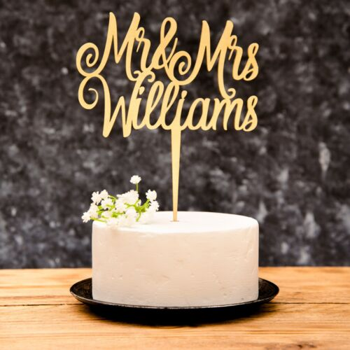 Personalised Calligraphy Mr & Mrs Wedding Cake Topper Wooden Silver Rose Gold  <br/> 13 Metallic Colours to choose  Measures 175mmx 200mm