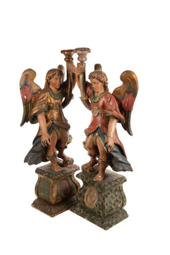17th Century pair of Venetian Polychrome & Giltwood Angel Torchères