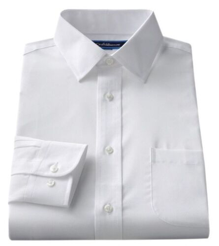 "Men's Croft & Barrow Classic-Fit Easy Care ""Spread"" Collar Dress White Shirt"