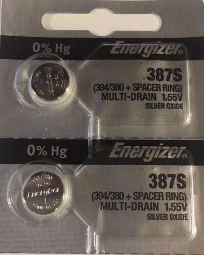 2Pcs ENERGIZER 387S BULOVA Accutron 214 w/Spacer Ring Silver Oxide Watch Battery