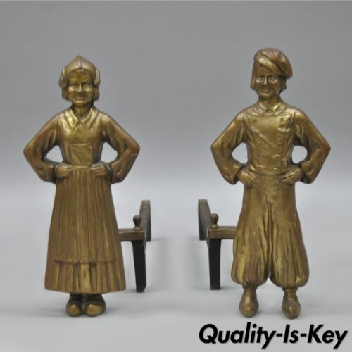 Antique Sheffield Dutch Boy and Girl Bronze & Cast Iron Pair Andirons Fireplace
