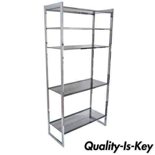 Mid Century Modern Chrome Smoked Glass Etagere Bookcase Shelf Baughman Style 74""