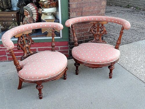Victorian Antique Gothic Church walnut wood carved Cross Motif Slipper Chairs