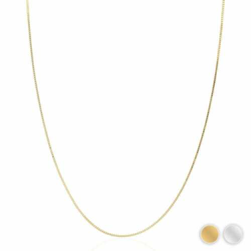 Solid 14k Yellow Gold White Gold 1mm Diamond Cut Box Chain Necklace 16""