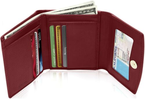 New Real Leather Women's Small Trifold Wallet Ladies Organizer RFID Blocking