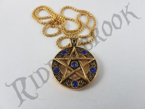 Gold Toned Stainless Steel pentagram symbol pendant and necklace chain wiccan