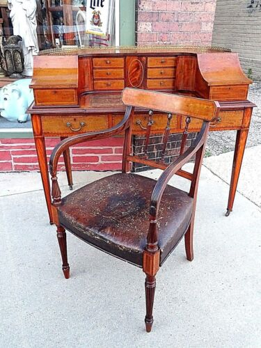 Antique English Mahogany Inlaid Regency Hepplewite Carlton Adams desk & Chair