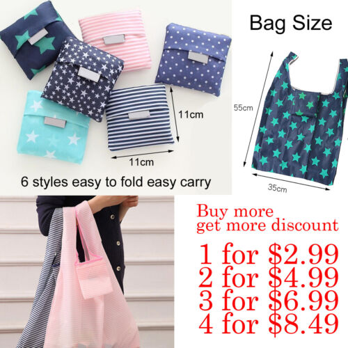 1/2/4Pcs Reusable Foldable Recycle Grocery Shopping Carry Bags Tote Handbags Eco