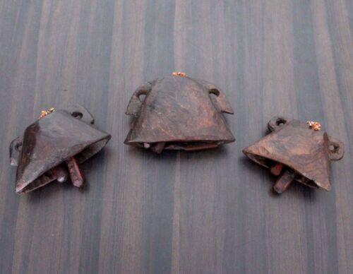 1900s Three Old Antique Beautiful Hand Carved Pet Animals Wooden Neck Bell #561