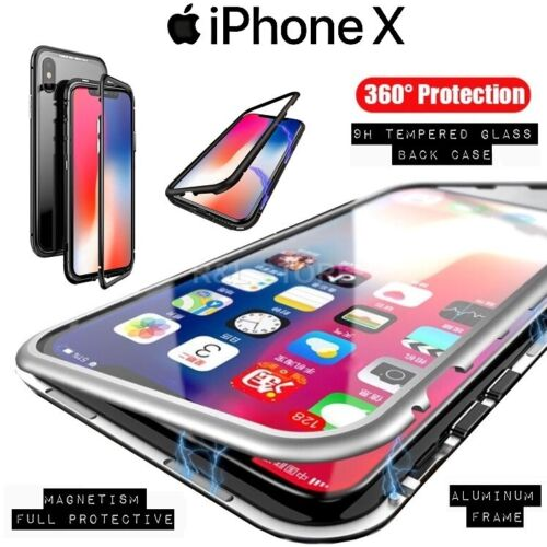 COVER Per Iphone X Alluminio Crystal Glass MAGNETICA con RETRO VETRO TEMPERATO
