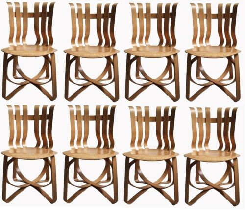 8pc Set Frank Gehry Hat Trick Chairs for Knoll, 1996. Maple, made in the USA.