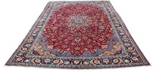 Semi-Antique Hand-Knotted Palatial Isfahan Rug, Cotton Warp & Wool Weft