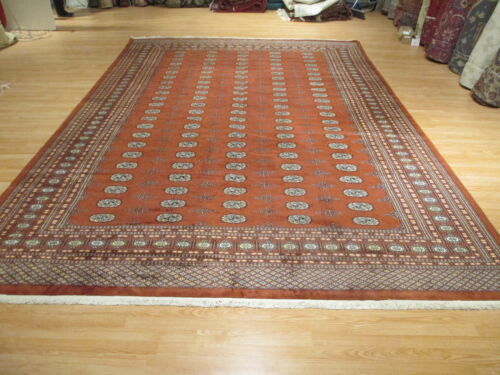 10x15 Fine Bokhara Geometric Allover-Pattern Handmade Knotted Wool Rug 582665