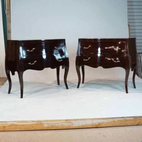 Beautiful Pair of Italian Renaissance Commodes in espresso with brass handles