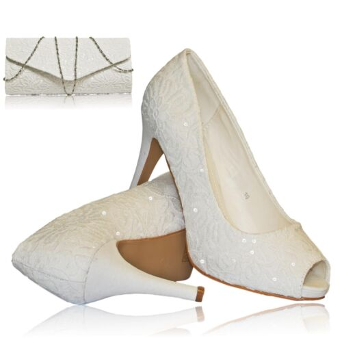 Womens White Sequined Embroidered High Heel Wedding Bridal Court Shoes Sandals