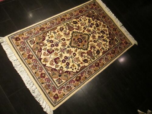 2x3 Fine Museum Formal Design Intricate Hand-Made-Knotted Wool/Silk Rug 582430
