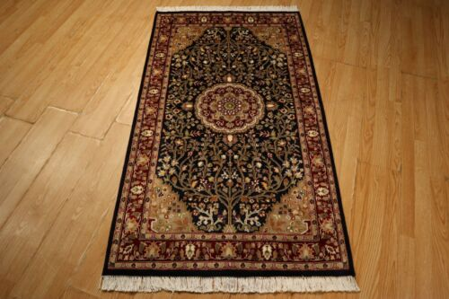 3x5 SUPER Fine PersianTree-of-Life Handmade-knotted Wool/Silk Rug 583304